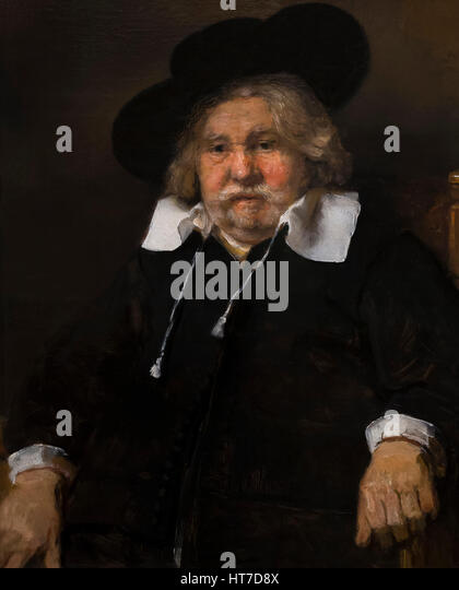 Portrait of an Elderly Man, by Rembrandt, 1667, Royal Art Gallery, Mauritshuis Museum, The Hague, Netherlands, Europe - Stock Image