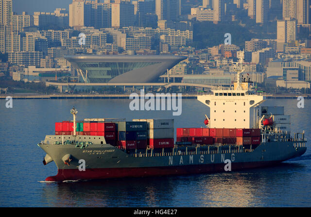 Container ship, Port of Busan, South Korea, Asia - Stock Image