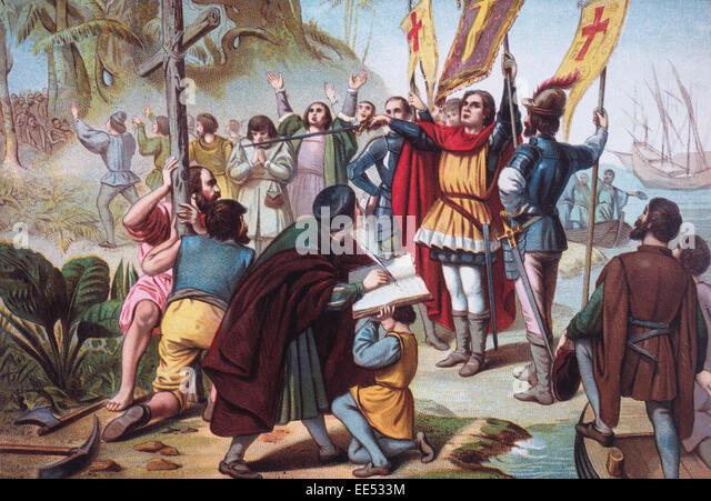 Christopher Columbus Taking Possession of the New World (San Salvador) circa 1492, Chomolithograph, 1892 - Stock-Bilder