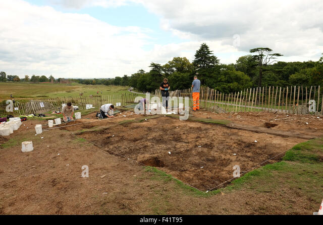 people doing Archaeology in bradgate park - Stock Image