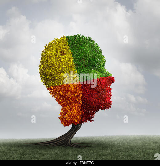 Human mood psychology change as a human head tree with changing leaf color as a mental health metaphor for brain - Stock Image
