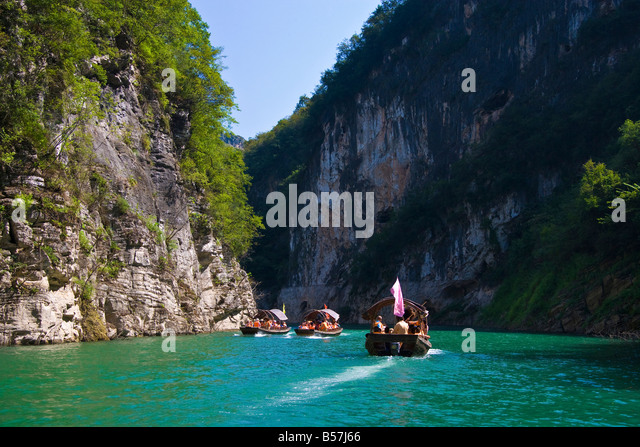 Tourist boats on Daning River in Little Three Gorges Yangzi River China JMH3393 - Stock Image