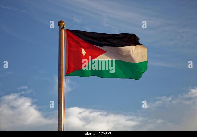 National flag, Jordan - Stock Image