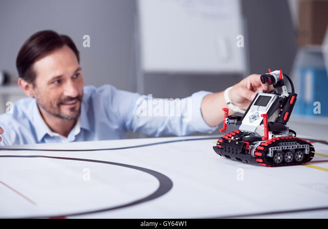 Little red robot is ready to exploitation - Stock-Bilder