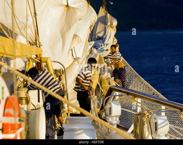 Sailors at work - Stock Image
