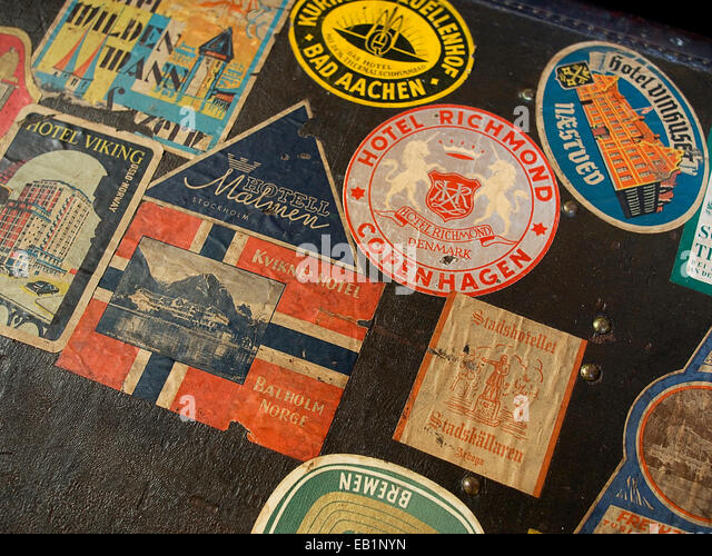 Travel trunk stickers at the Musee du bagage Haguenau France - Stock-Bilder