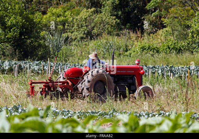 Agricultural machine plowing land for planting vegetables in the district of Tres Barras - Stock Image