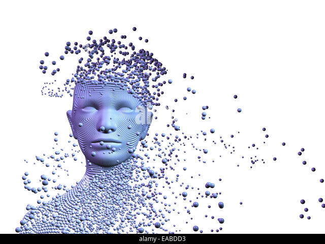 3d Conceptual image of  woman composed of balls. Artificial intelligence concept - Stock Image