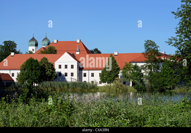 Seeon abbey with its Romanesque basilica has its roots in the 11the century - Stock Image