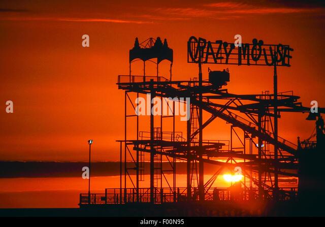Crazy mouse roller coaster ride. Blackpool. Lancashire. England. UK - Stock Image