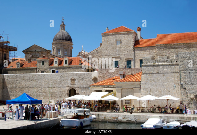 Dubrovnik harbour and Cathedral of the Assumption of the Virgin Mary,  Dubrovnik, Croatia, Europe, - Stock Image