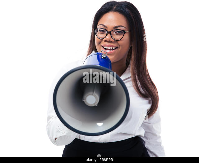 Afro american businesswoman shouting in megaphone isolated on a white background. Looking at camera - Stock Image