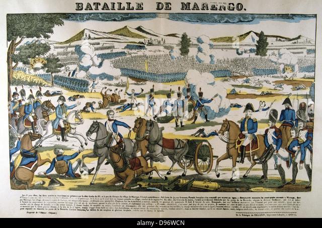 Bonparte, centre left, at the Battle of Marengo, 14 June 1800. French forces under Napoleon defeated Austrians. - Stock Image
