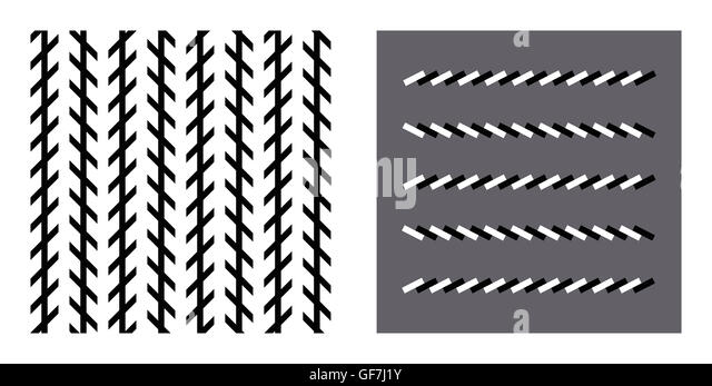 Zoellner optical illusion. In both figures the lines are parallel ...