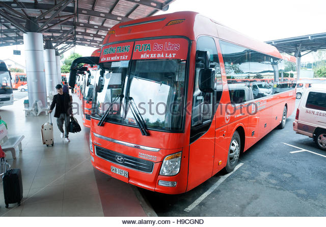 Dalat Vietnam Phuong Trang Futa Bus lines at the intercity bus terminal. - Stock-Bilder