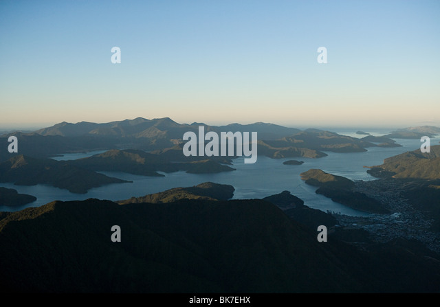 Queen Charlotte Sound, aerial view - Stock-Bilder