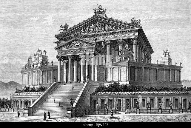 geography / travel, Italy, Rome, Capitoline Hill, Temple of Jupiter Capitolinus, exterior view, circa 100 AD, reconstruction - Stock-Bilder