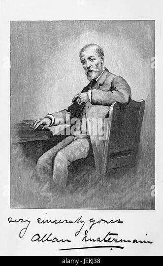ALLAN QUARTERMAIN fictional character from  H . Rider Haggard's 1885 novel Kings Solomon's Mines. Illustration - Stock-Bilder