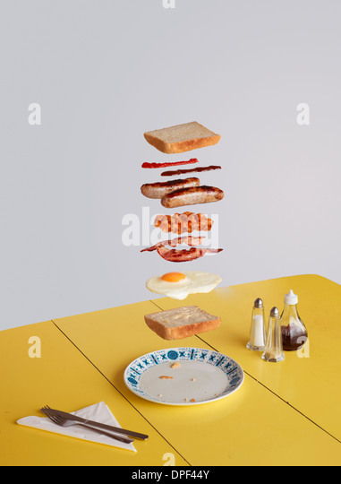 English breakfast sandwich deconstructed - Stock Image