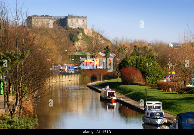Nottingham Castle overlooking the canal - Stock Image
