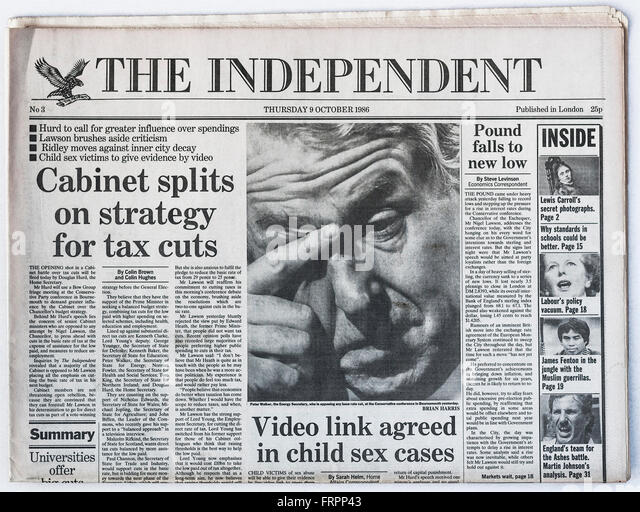 Upper front page Issue #3 'The Independent' UK national newspaper printed Thursday 9th October 1986 - 'The - Stock Image