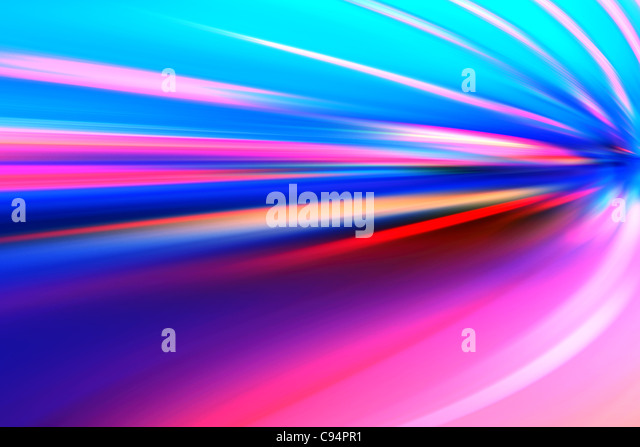 acceleration speed motion on night road - Stock Image