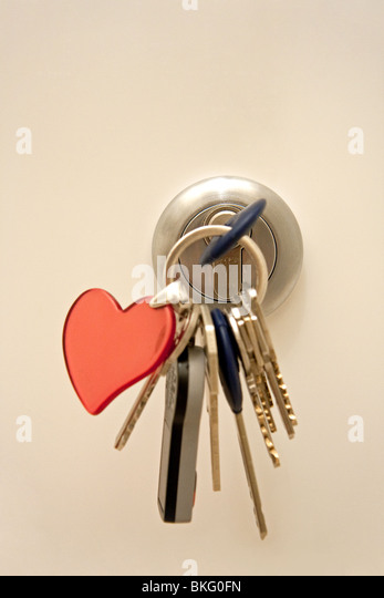 Door lock with keys - Stock Image