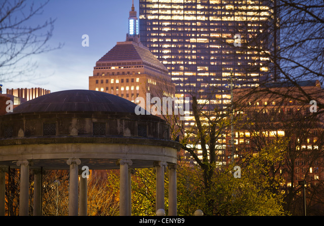 Buildings lit up at dusk, Boston, Massachusetts, USA - Stock Image