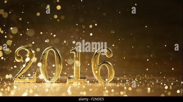 Golden 2016 for new year holidays - Stock-Bilder
