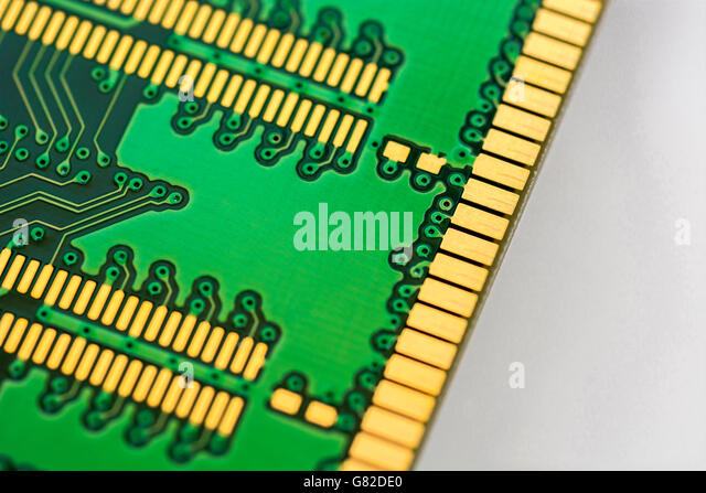 Computer memory concept. Underside of 184-pin DDR SDRAM module showing edge connectors of the DIMM (dual in-line - Stock Image