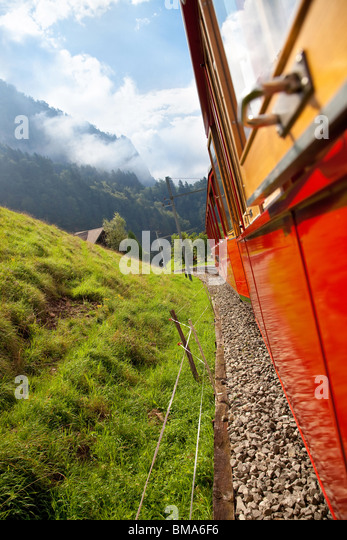 Alps mountain travel. View from the train. - Stock-Bilder