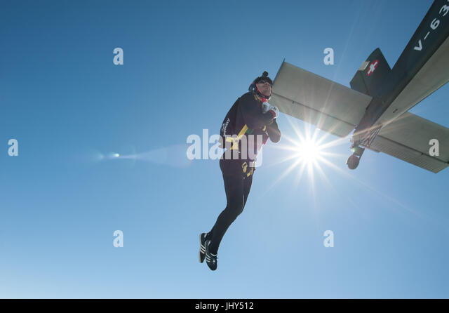 Freestyle skydiver doing a training jump above the Para Centro Locarno in Switzerland - Stock Image