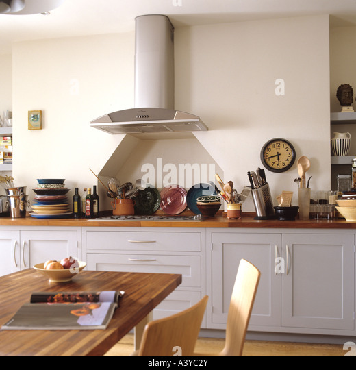 Grey kitchen with ornaments - Stock Image