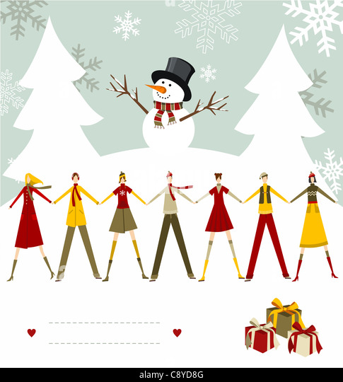 Snowman celebrating Christmas and people holding hands with blank lines to write on snowy background. Vector file - Stock Image
