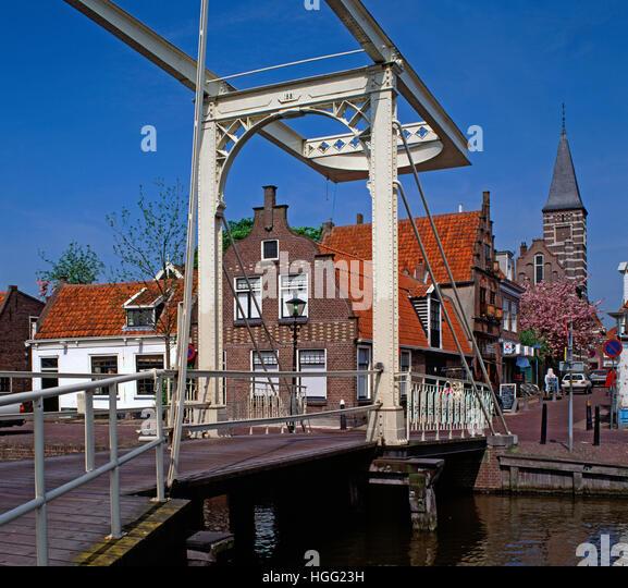 Typical canal bridge, Edam, Holland - Stock Image