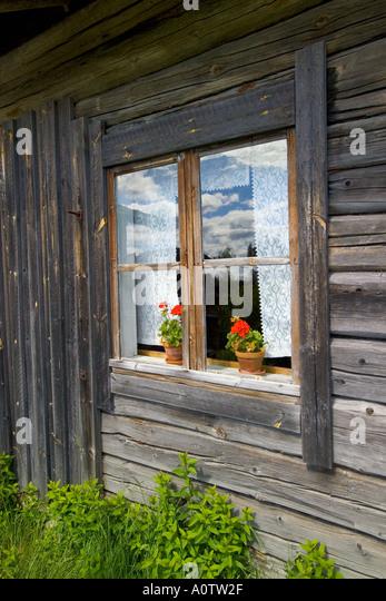 Traditional Finnish House at Ritamaki near Torsby in Varmland County Sweden - Stock-Bilder