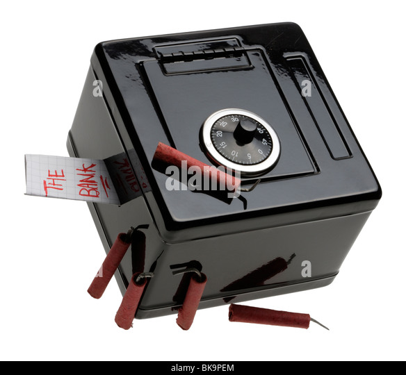 Toy safe (The Bank) with bangers (Dynamite) - Stock Image