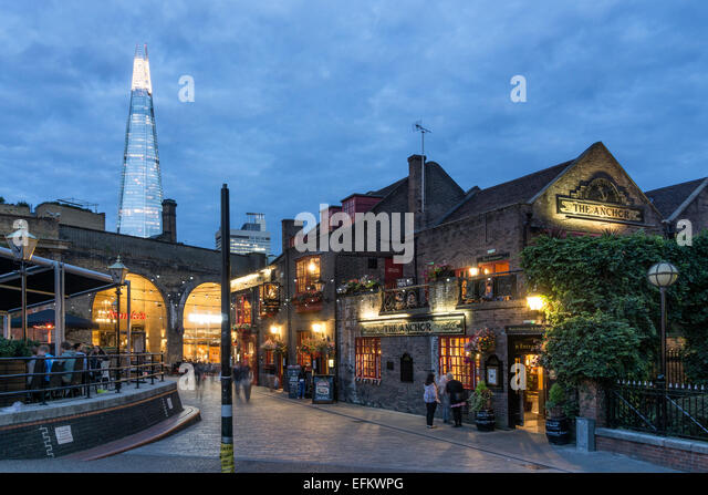 The anchor Pub, Riverside Thames, background The Shard by Architect t Renzo Piano, Southwalk, Clouds, London, UK - Stock Image