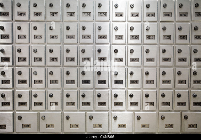 Mail boxes inside post office. - Stock Image