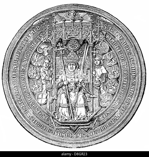 Seal of Albrecht von Hohenzollern, 1490 - 1545, Elector and Archbishop of Mainz from and Archbishop of Magdeburg, - Stock Image