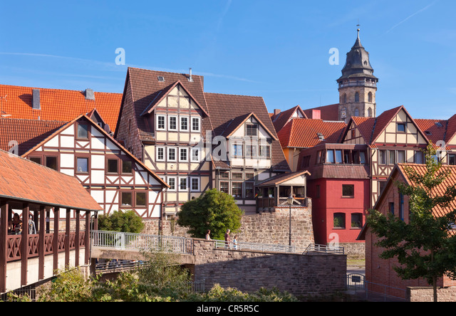 Historic town centre with St. Blasius Church, Hannoversch Muenden, Lower Saxony, Germany, Europe - Stock Image