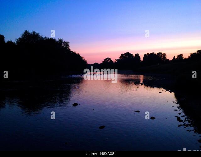 Sunrise over River Wye at Hay on Wye Powys Wales UK - Stock Image