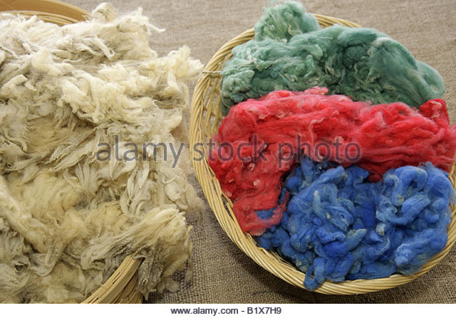 Arkansas Pocahontas Small Farm Fibers woolen products dyed wool yarn sheep shearing baskets hues colors natural - Stock Image