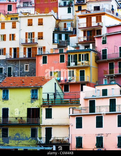 Colorful Buildings in Cinque Terre, Italy. - Stock-Bilder
