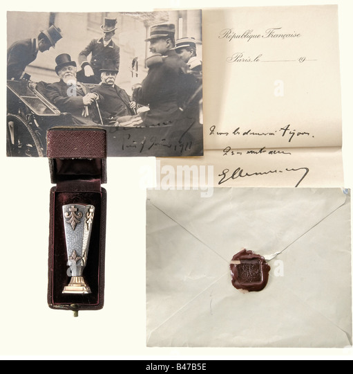 Georges Clemenceau (1841 - 1929), a seal of the French Prime Minister 1906 - 1909 and 1917 - 1920 Red gold and silver, - Stock Image