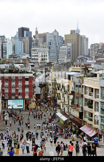China, Macau, historical center, UNESCO World heritage, Rua da Sao Paulo - Stock Image