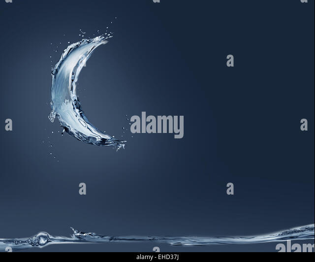 A crescent made of water shining moonlight on the scene. - Stock Image