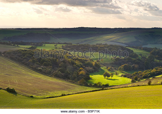 South Downs landscape from the South Downs Way, near Clayton, West Sussex. - Stock Image
