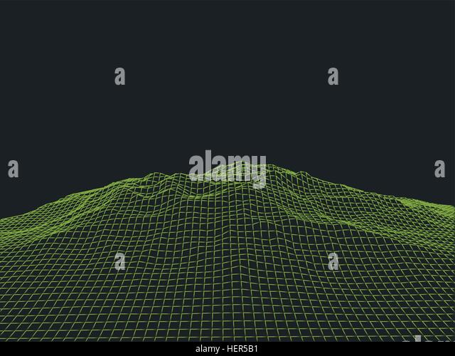 Abstract Cyberspace Grid Landscape Background. Abstract cyberspace landscape background. Cyberspace grid. 3d technology - Stock-Bilder