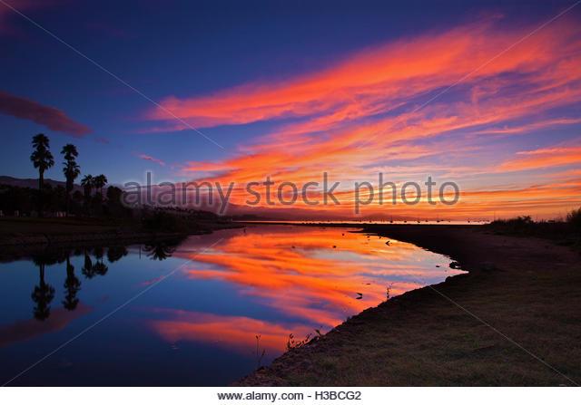 sunrise over Mission Creek, Santa Barbara - Stock Image